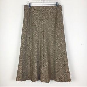 NWT Talbots Petites Brown Tan Wool Long Skirt 14P